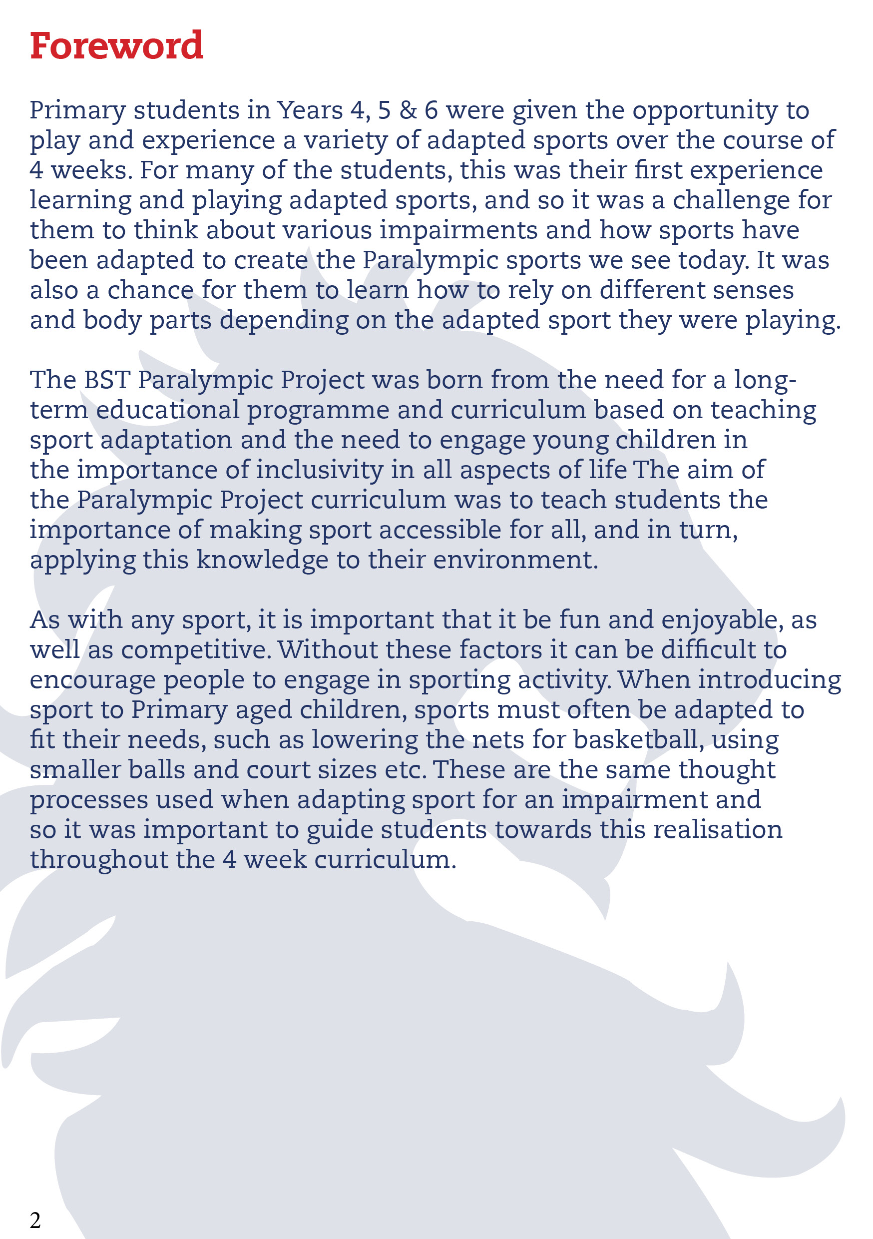 Primary Paralympic Project Curriculum - The British School